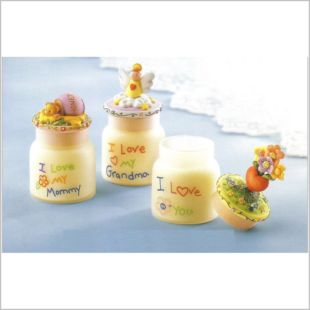 "Gift for MOM.  ""I love you"" Gifts for mom, grandma or God Mothers. Candle Jars with Fancy toppers."