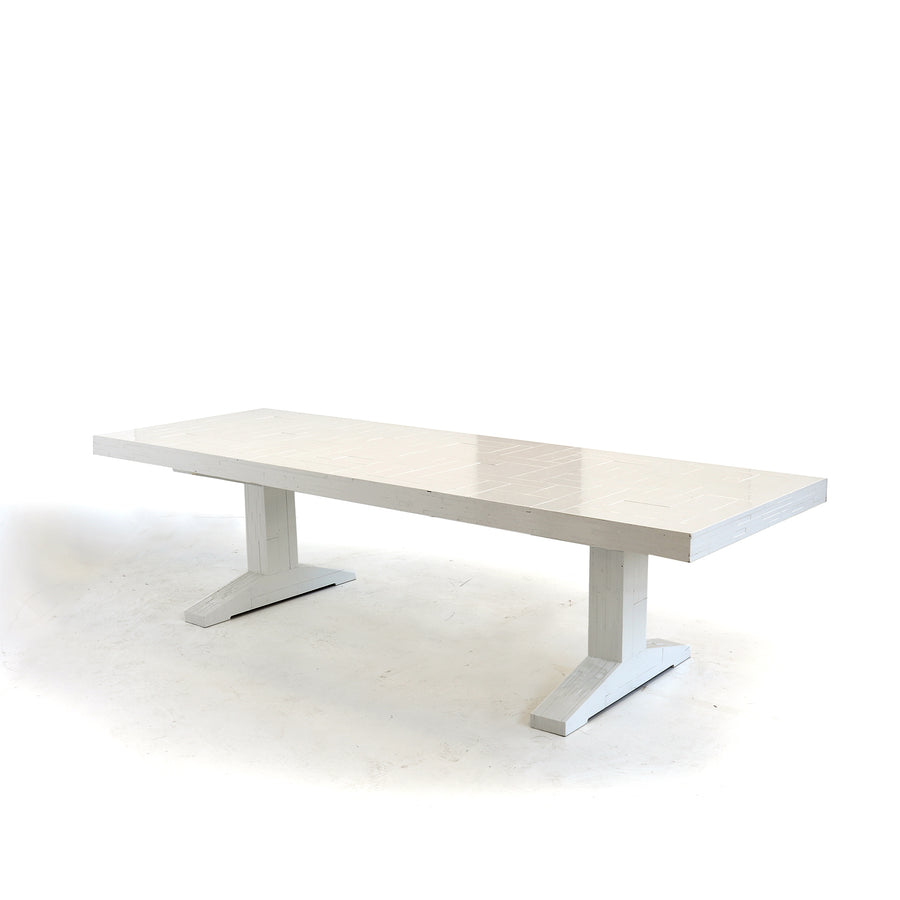 waste table in plywood high gloss white lacquered