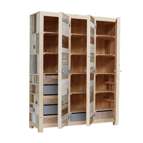 3-doors cupboard in scrapwood