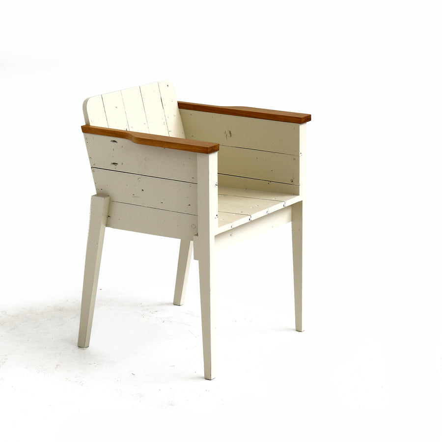 bucket seat in scrapwood white lacquered