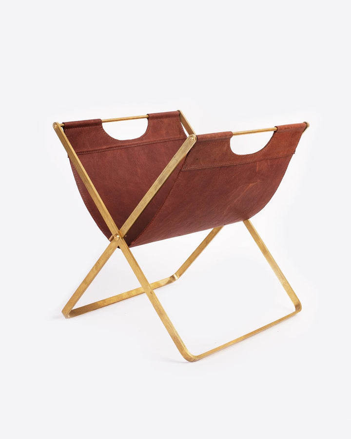 Magazine Rack | Brass and brown Leather