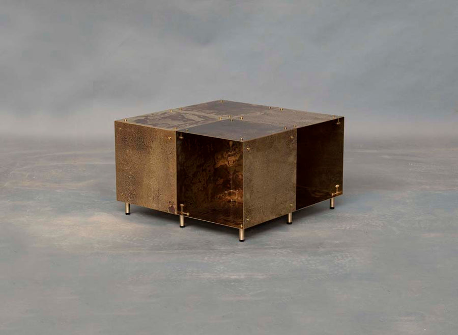 modulair coffee table | weathered brass
