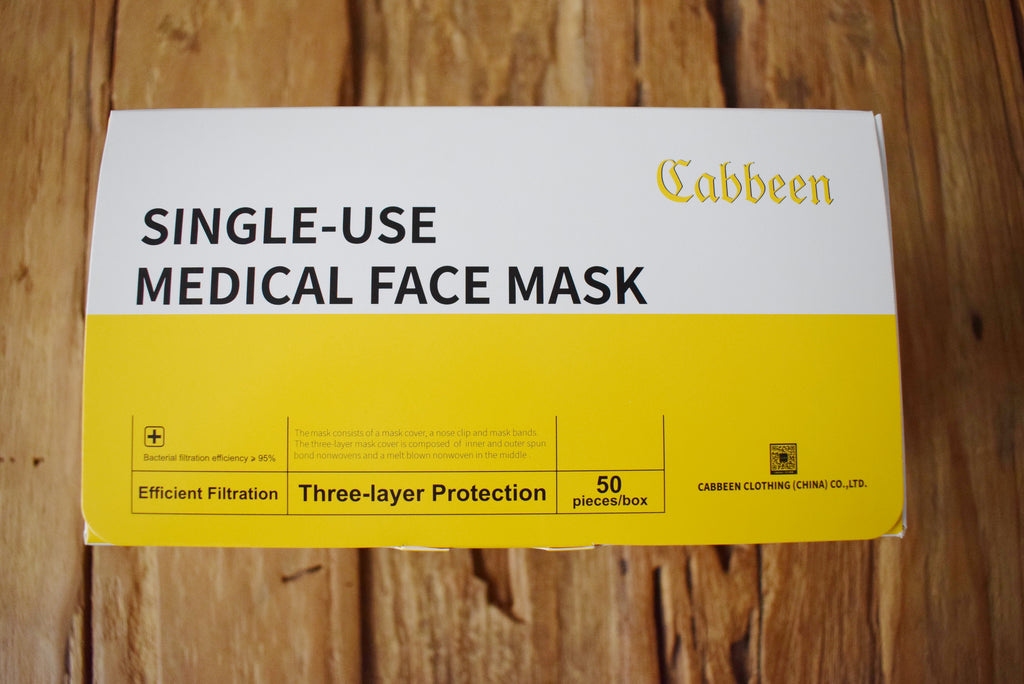 CABBEEN SINGLE-USE MEDICAL FACE MASK = Community-Maske = Mund- & Nasen-Abdeckun mit Elastikband im 50-er Pack