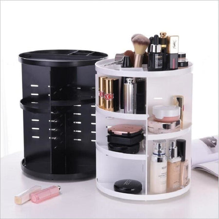 360-degree Rotating Makeup & Jewelry Organizing Box - White / United States - beauty