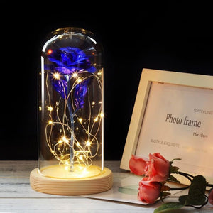Forever Enchanted Galaxy LED Red Rose In A Glass Dome - blue - home - love