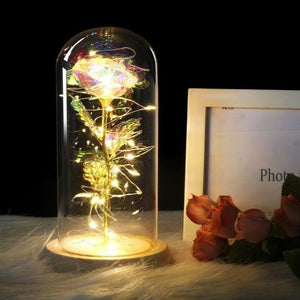 Forever Enchanted Galaxy LED Red Rose In A Glass Dome - bright color - home - love