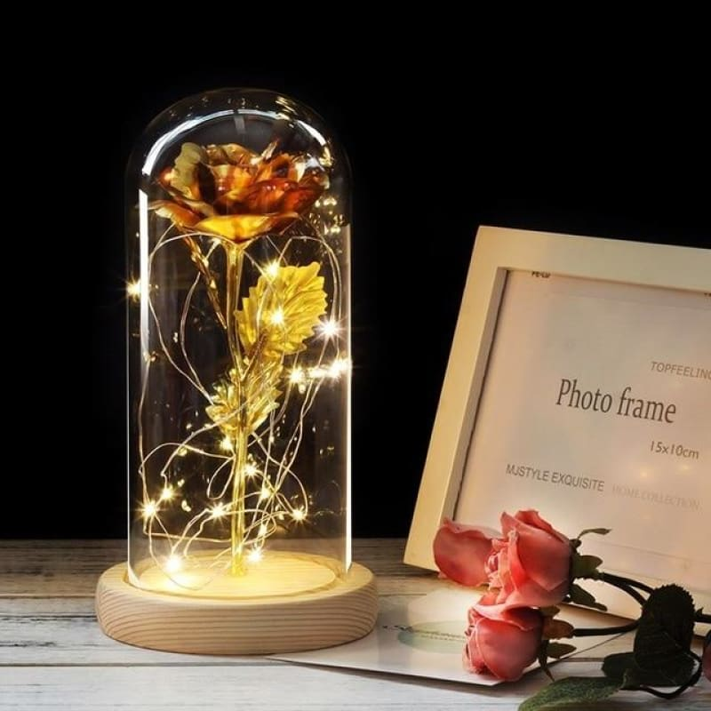 Forever Enchanted Galaxy LED Red Rose In A Glass Dome - gold - home - love