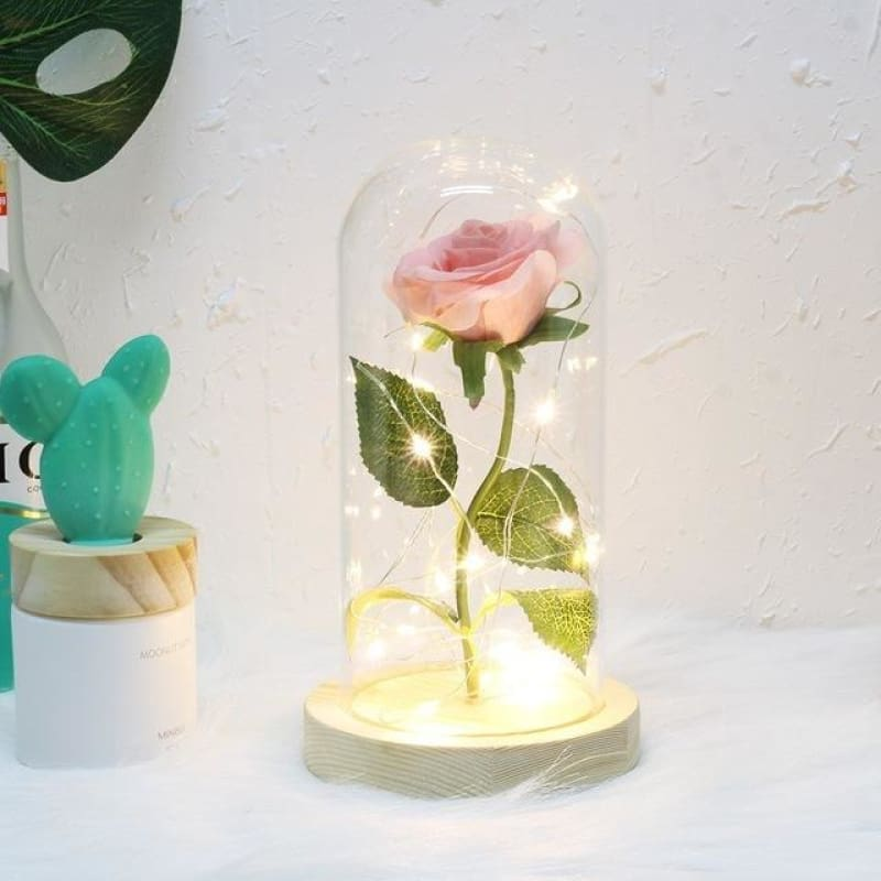 Forever Enchanted Galaxy LED Red Rose In A Glass Dome - pink - home - love