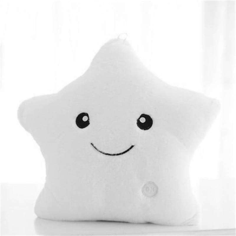 Kids Luminous Star Cushion Pillow Plush Doll Led Light Colorful Glowing Toys - White / United States - baby - kids