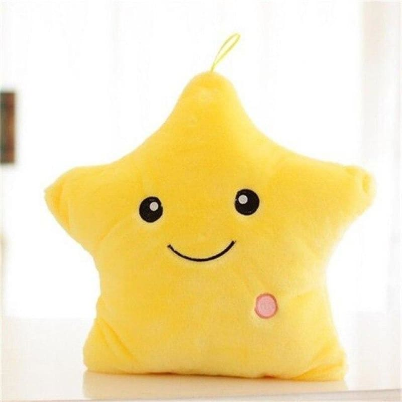 Kids Luminous Star Cushion Pillow Plush Doll Led Light Colorful Glowing Toys - Yellow / United States - baby - kids