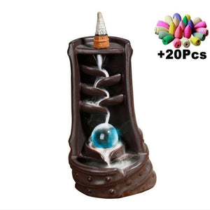 Mountain River Incense Waterfall - With 10 Cones Free Gift - Hidden Pearl Brown Incense Holder
