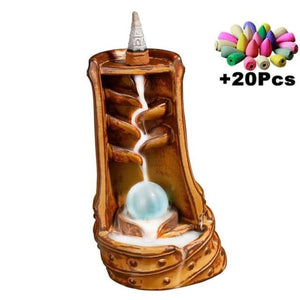 Mountain River Incense Waterfall - With 10 Cones Free Gift - Hidden Pearl Tan Incense Holder