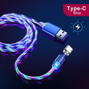 Udyr Led Magnetic Charging Cable - Blue Type C Cable / 2m