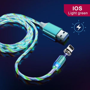 Udyr Led Magnetic Charging Cable - Green IOS Cable / 2m