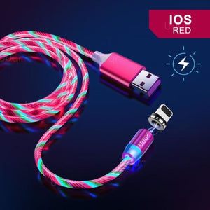 Udyr Led Magnetic Charging Cable - Red IOS Cable / 2m
