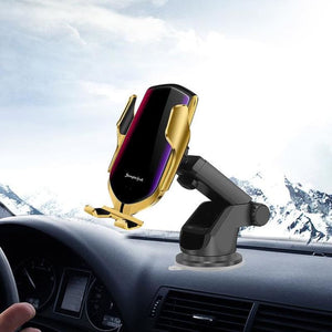 Wireless Automatic Sensor Car Phone Holder and Charger - Gold