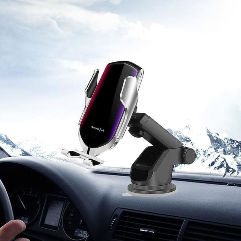 Wireless Automatic Sensor Car Phone Holder and Charger - Silver