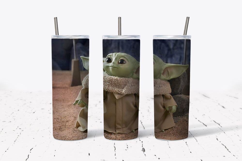 Baby Yoda  20oz Stainless Steel Tumbler with Straw & Lid