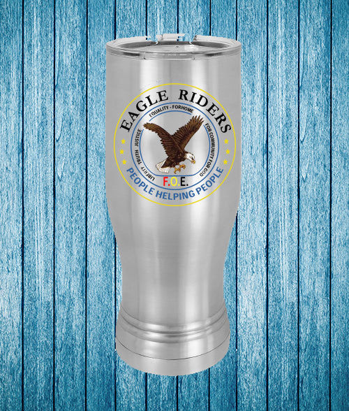 Eagle Riders Stainless Steel Sublimatable 20 oz. Polar Camel Pilsner with Clear Lid