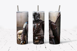 -Mandalorian-  20oz Stainless Steel Tumbler with Straw & Lid