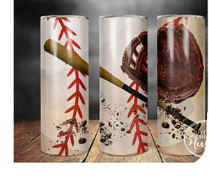 Baseball & Bat 20oz Stainless Steel Tumbler with Straw & Lid