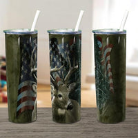 Deer flag  20oz Stainless Steel Tumbler with Straw & Lid
