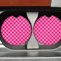 "Pink Plaid Car Coasters  ""SET"""