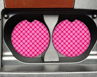 Pink Plaid Car Coasters