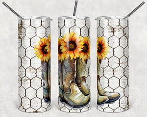SunFlower & Boots  20oz Stainless Steel Tumbler with Straw & Lid