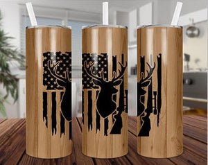 Deer Hunting 20oz Stainless Steel Tumbler with Straw & Lid