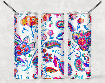Floral pattern  20oz Stainless Steel Tumbler with Straw & Lid