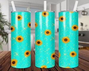 Blue SunFlower  20oz Stainless Steel Tumbler with Straw & Lid