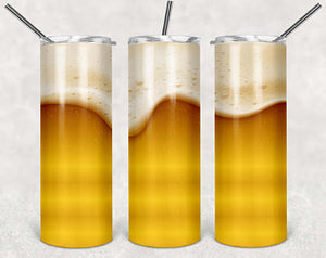 BEER  20oz Stainless Steel Tumbler with Straw & Lid