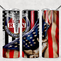 RN & Flag 20oz Stainless Steel Tumbler with Straw & Lid