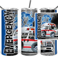 Emergency 20oz Stainless Steel Tumbler with Straw & Lid
