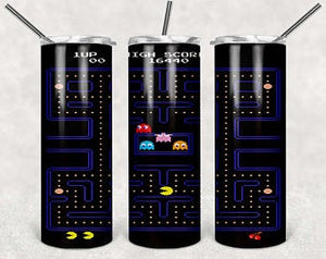 Pac-Man 20oz Stainless Steel Tumbler with Straw & Lid