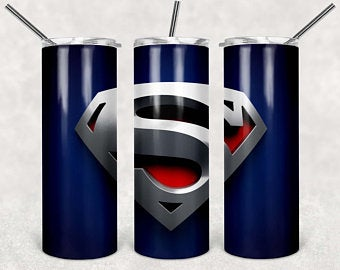 Superman Logo 20oz Stainless Steel Tumbler with Straw & Lid