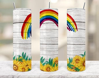 Rainbow & SunFlowers 20oz Stainless Steel Tumbler with Straw & Lid