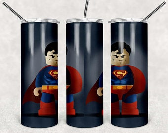Lego Superman 20oz Stainless Steel Tumbler with Straw & Lid