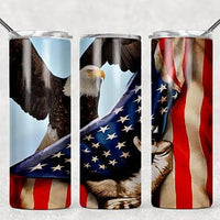 Eagle & Flag  20oz Stainless Steel Tumbler with Straw & Lid