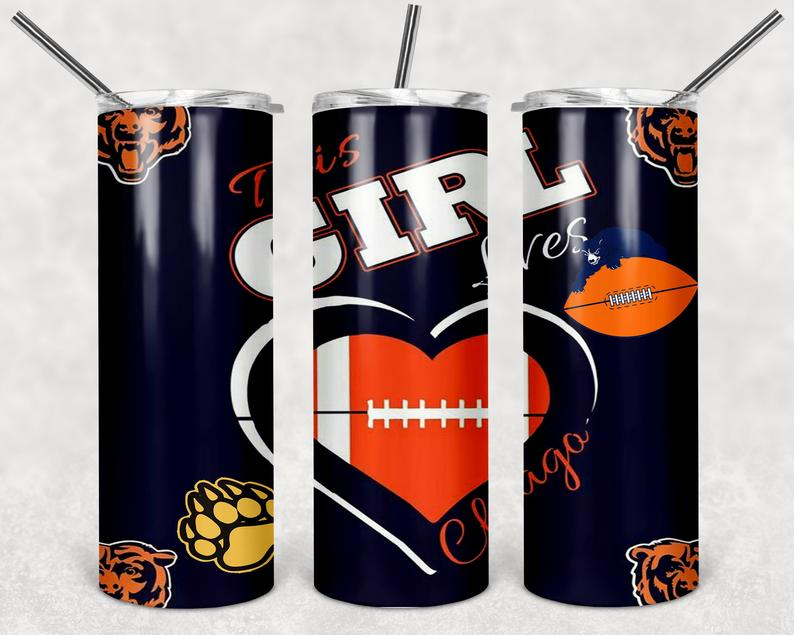 This GIRL Loves Chicago  20oz Stainless Steel Tumbler with Straw & Lid