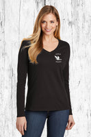 Women's black long sleeve V-Neck T-Shirt