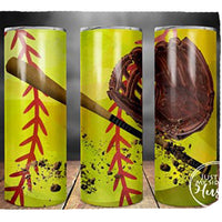 Softball & Bat 20oz Stainless Steel Tumbler with Straw & Lid