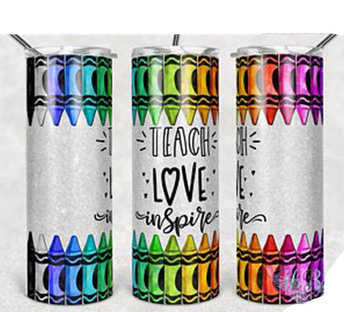 Teach Love Inspire 20oz Stainless Steel Tumbler with Straw & Lid