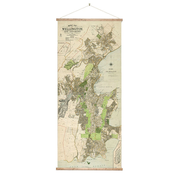 Vintage Wellington Map Wall Chart