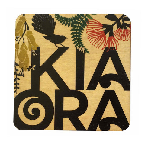KiaOra Wooden Coaster