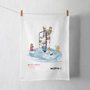 Wellington Book Bucket Fountain Tea Towel