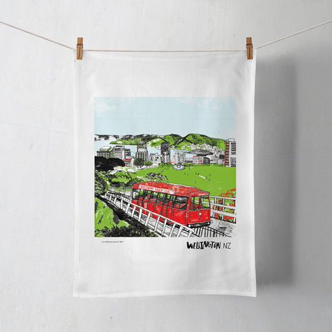 Wellington Book Cable Car Tea Towel