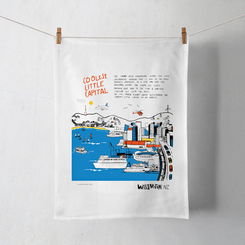 NZ Book Cool Capital Harbour Tea Towel
