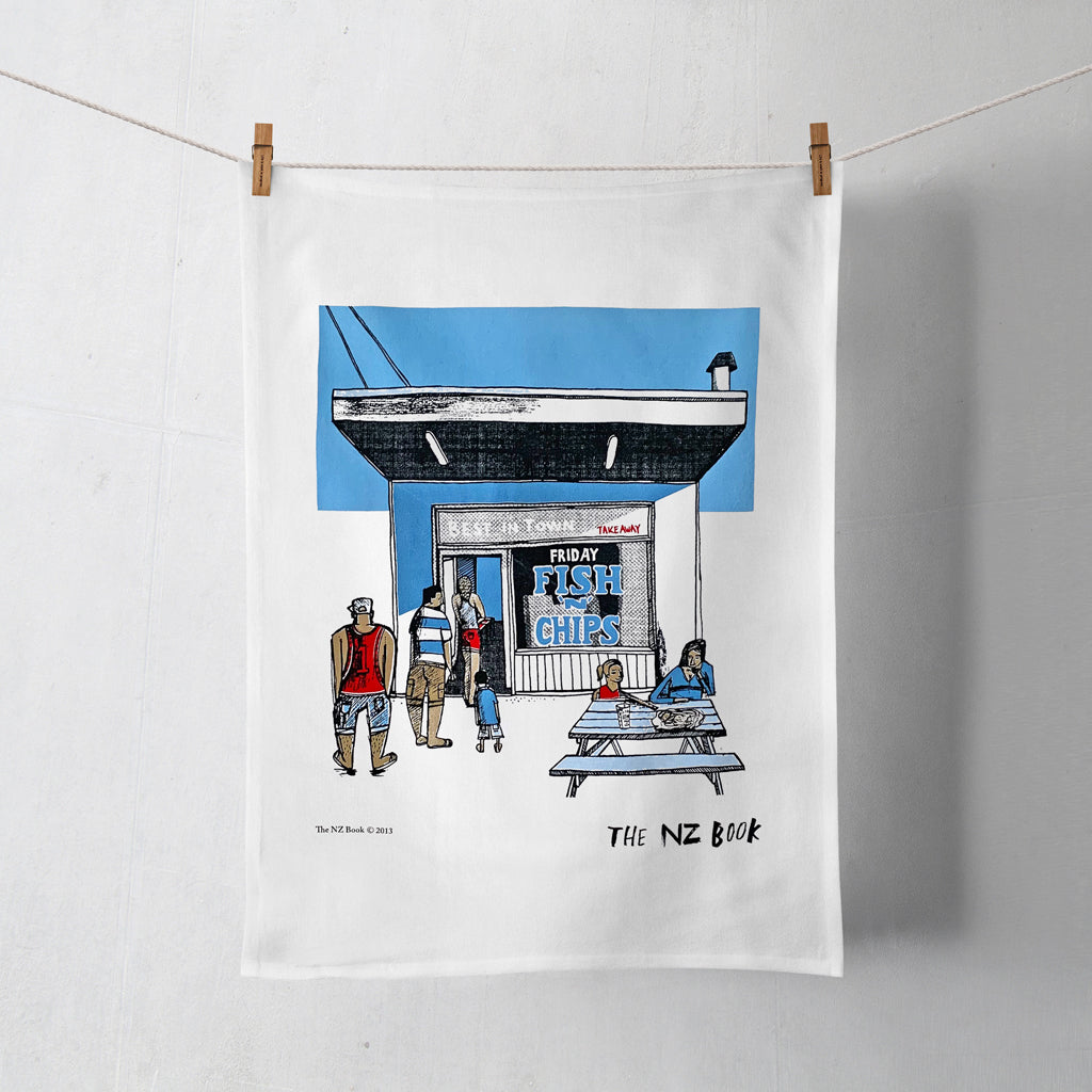 NZ Book Fish & Chips Tea Towel